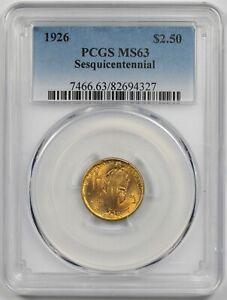 1926 American Sesquicentennial $2.5 PCGS MS 63 (Sesqui) Gold Commemorative