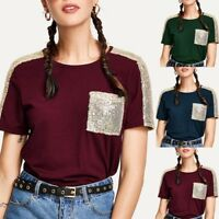 Ladies Women Contrast Sequin Summer Blouse Casual Short Sleeve T-shirt Tops 2019