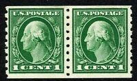 [MA1]  US #412 ~ Mint-LH 1912 1c Perf 8.5 Hor. SL Wmk Coil Pair