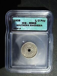 1938 Southern Rhodesia 1/2 Half Penny, ICG MS 65, Zimbabwe