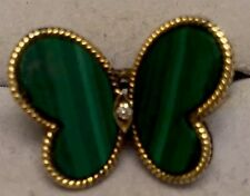 14K SOLID YELLOW GOLD VINTAGE CUSTOM GREEN STONE & DIAMOND BUTTERFLY RING