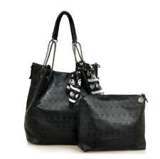 Skull Pattern Shoulder Bag With Silk Handbag Ladies Leather Vintage Black Bag