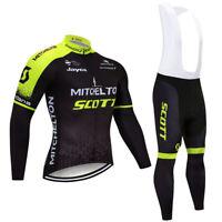 Mens Cycling Jersey Long Sleeve Bib Kit Bike Shirt Clothes Camiseta de Ciclismo