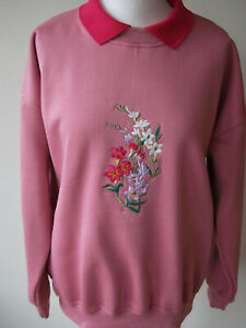 LADIES WOMENS,SWEATSHIRT,JUMPER,TOP WITH AN EMBROIDERED FREESIA DESIGN PINK/PINK