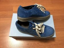 100%Auth Pre-owned LANVIN Nubuck Leather Sneakers Shoes Blue 7UK