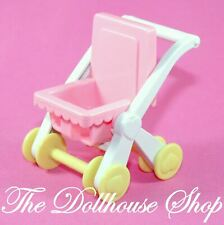 Playskool for Fisher Price Dollhouse Pink Baby Doll Pram Stroller Nursery