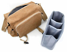 Canvas Brown Shoulder Camera Bag for Canon Nikon Sony Pentax GoPro Olympus DSLR