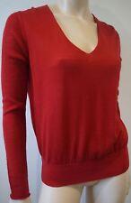 NICOLE FARHI Red 100% Wool Fine Knitwear V Neck Long Sleeve Jumper Sweater Top L