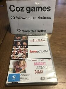 Love Actually & The Holiday & Bridget Jones's Diary DVD Box Set Oz Release Bnew