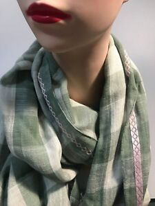 SPORTSCRAFT DENA long checked cotton-viscose scarf green-ivory colour new tag