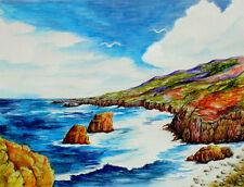 Original Watercolor Rocky Ocean Shoreline & Seagulls Wildlife Art Sally Porter