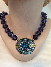 New Heidi Daus IT SUITS YOU Necklace Crystal Large pendant PURPLE BLUE