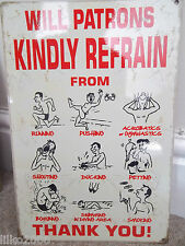 SWIMMING POOL WARNINGS (WILL PATRONS..) VINTAGE-STYLE METAL WALL SIGN 30X20cm
