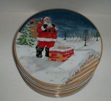 6 American Atelier Winter Village Santa Clause 5083 Plates