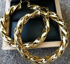 HUGE 18ct REAL YELLOW BIG GOLD FILLED PLATED LARGE TWIST HOOP 65mm UK SELLER