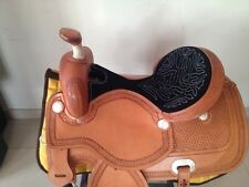 """Western Cowhide Natural Ranch Roper Hand Carved With Black Suede Seat 17"""" Saddle"""