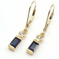 1.00 Ct Blue Sapphire Leverback Drop Dangle Earrings 14K Yellow Gold FN