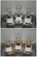 Set of 3 Elegant Tea Light Glass Candle With Flower Design Holders Wedding Table