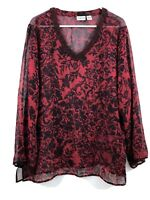 Chicos Artsy Floral Silk Blouse XL Black Red Tunic Long Sleeve Beaded V-Neck A8