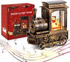 IPOW Christmas Snow Globe Lantern Train with Water Swirling Glitter, Musical