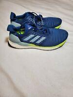 adidas Solar Boost Running Shoes Blue Mens Marine/Grey/Yellow NIB Size 11.5