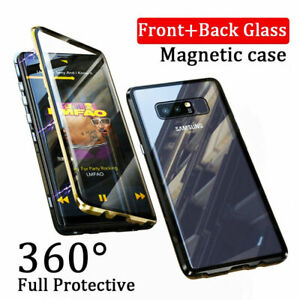 For Samsung S10 S20 + Ultra Magnetic Absorption Case Tempered Glass Metal Cover