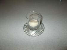 Small decorative glass with pewter base tea light or votive candle holder used