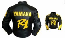 BLACK YAMAHA R1  MOTORBIKE RACING LEATHER JACKET CE APPROVED