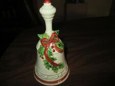 Enesco Made In Japan Christmas Dinner Bell * Holly Leaves Berries Bow W/Sticker