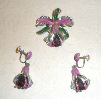 Vintage Pin Earrings Orchid Purple Rhinestones Silvertone