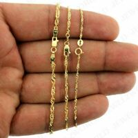 10K Solid Yellow Gold Diamond Cut Singapore Chain Necklace 1.5mm, 2mm Or 2.5mm