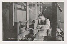 Devon postcard - Hand Loom Weaver at Work, Cockington