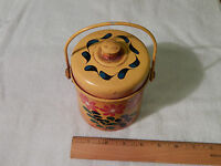 Vintage Metal Tin Canister w/ Lid (Writing on Top) Hand Painted Floral (F. SHIP)
