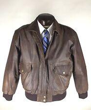 B52 Leather Jacket Size Large Bomber Flight Zipper Front Map Lining Vintage
