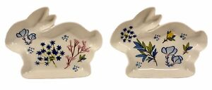 """Easter Bunny Rabbit Candy Dishes by Tag Set of 2 Ceramic 7"""""""