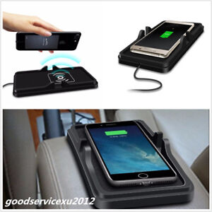 Black Car SUV Wireless Fast Charger Dashboard Holder Mount Silicone Non-Slip Mat