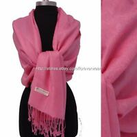 Pink Paisley Floral 70%Pashmina/30%Silk Wool Scarf Wrap Shawl Classic 5e