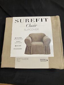 Sure Fit Chair Slipcover Suede Taupe One Piece 15288 Box Cushion Washable NEW