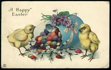Happy Easter Chicks Egg Colorful Jelly Beans Embossed Postcard Posted 1916
