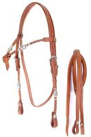 D.A. Brand Natural Leather Futurity Brow Bridle w/ Rawhide Trim Horse Tack