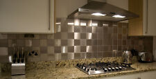 BRUSHED STAINLESS STEEL WALL BATHROOM / KITCHEN SPLASHBACK TILES 98 x 98mm