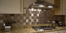 ACCIAIO inossidabile spazzolato parete bagno/cucina Splashback Piastrelle 98 x 98mm