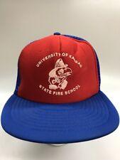 Vintage University of Kansas State Fire School Training Hat Jayhawk KU Red Blue