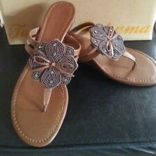NIB Tommy Bahama $158 Brown Thong wedge BEACH beaded flower sandal Evening 8 M