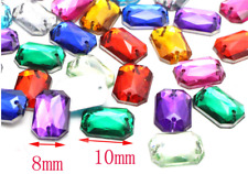 48 x Mixed Colour Rectangle Sew on Diamante Crystal Gems Rhinestone 8-10mm #249