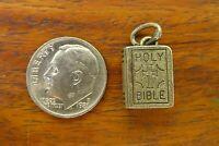 Vintage silver BEAUCRAFT HOLY BIBLE BOOK CROSS RELIGIOUS CATHOLIC charm BEAU