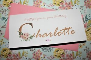 Handmade Personalised Birthday Floral Name Money Voucher Gift Card Wallet