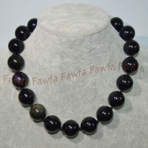 18/20mm Natural Black Rainbow Eye Obsidian Round Gemstone Beads Necklace 16-25''