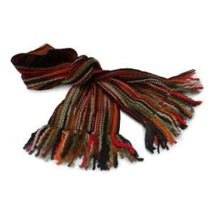 Extra Long Winter Striped Scarf - Luxurious Soft Wool - Hand Woven in Ecuador