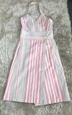ZARA Pink Striped Cotton Halter Neck Dress Size M